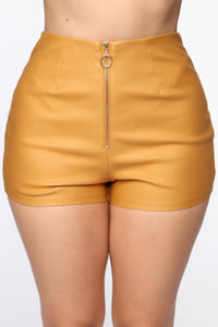 Getting Down High Rise Shorts - Mustard Angle 1