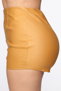 Getting Down High Rise Shorts - Mustard Angle 4