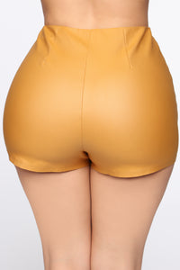 Getting Down High Rise Shorts - Mustard Angle 5