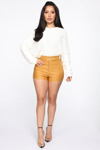 Getting Down High Rise Shorts - Mustard Angle 2