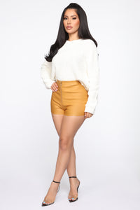 Getting Down High Rise Shorts - Mustard Angle 3