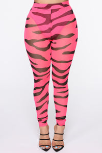 Letting Loose Mesh Leggings - Neon Pink