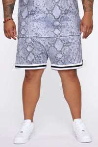 Snake Attack Basketball Shorts - Grey/combo