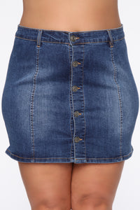 Easy A Line Denim Mini Skirt - Medium Blue Wash Angle 8