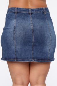 Easy A Line Denim Mini Skirt - Medium Blue Wash Angle 12
