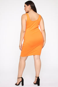 Wonderful You Midi Dress - Neon Orange
