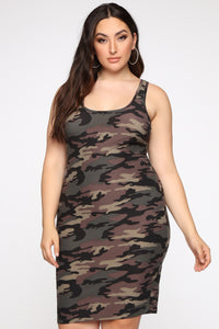 Wonderful You Midi Dress - Camo Angle 1