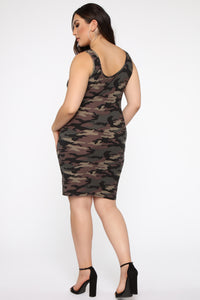 Wonderful You Midi Dress - Camo Angle 2