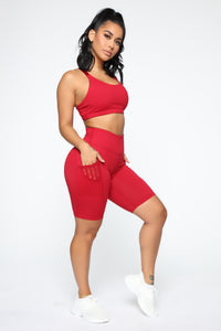 Fit Life Active Biker Shorts In Power Flex - Red Angle 1