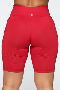 Fit Life Active Biker Shorts In Power Flex - Red Angle 6