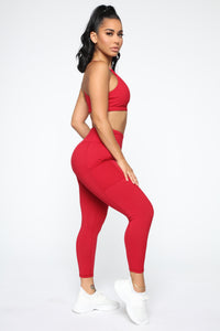 Fit Life Active Leggings In Power Flex - Red Angle 5