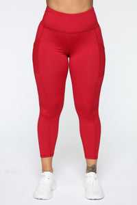 Fit Life Active Leggings In Power Flex - Red Angle 1
