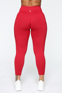 Fit Life Active Leggings In Power Flex - Red Angle 6