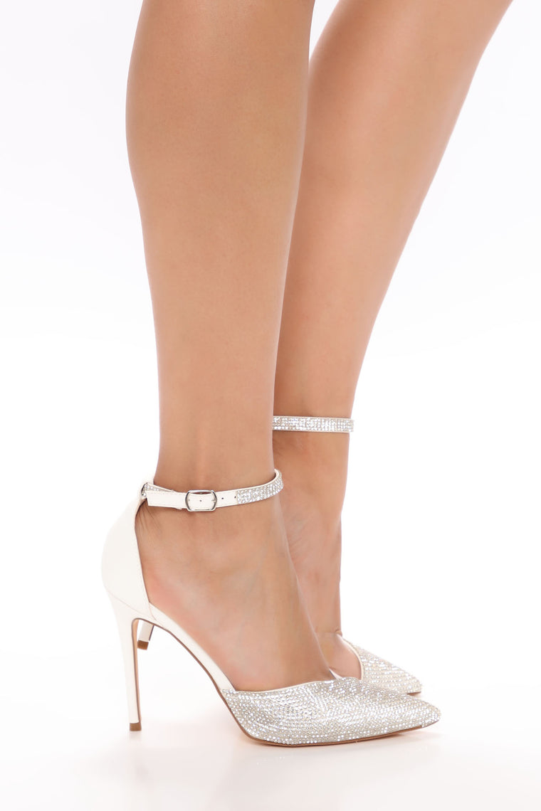 Imagination Served Right Rhinestone Pumps - White