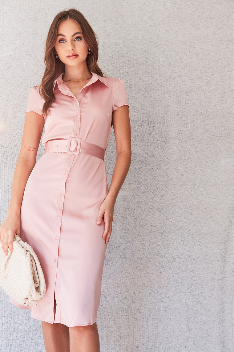Aria Satin Midi Dress - Mauve