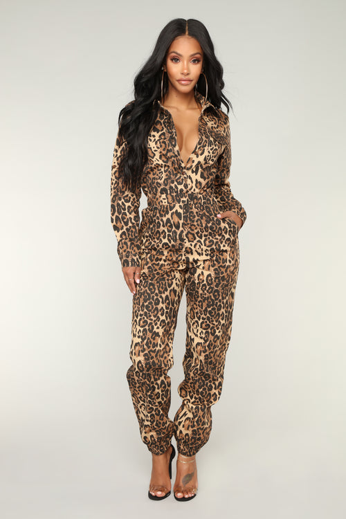 Catwalk Strut Leopard Jumpsuit - Brown
