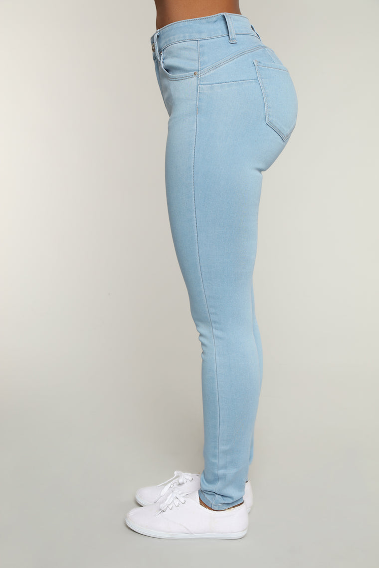 Never Call Me High Rise Jeans - Light Blue Wash