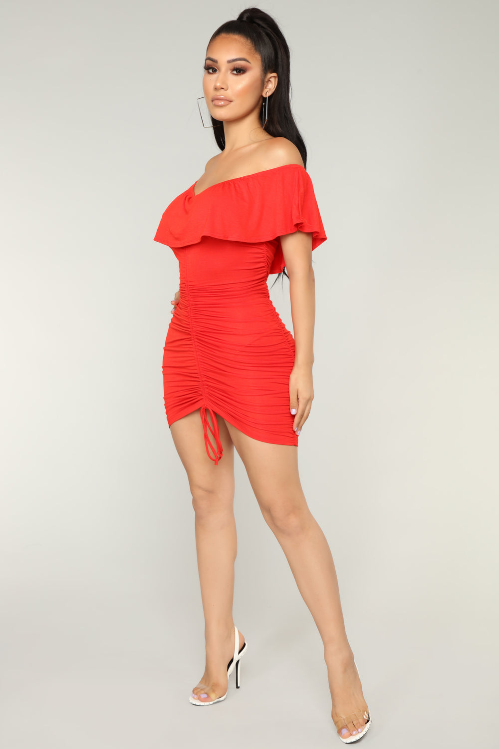 Saigon Ruched Dress - Red