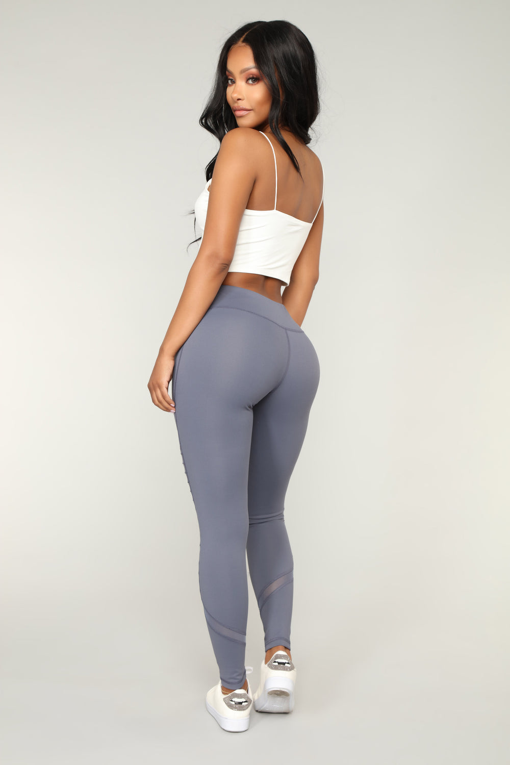 Bust A Move Lace Up Performance Leggings - Charcoal
