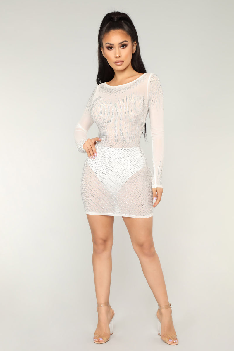 Carmelle Rhinestone Dress - White