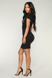 Super Nova Iridescent Mini Dress - Black/Silver