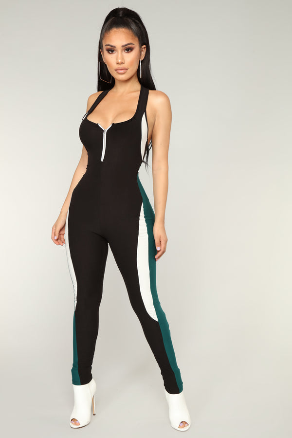 25e3c20f96a We re Solid Open Back Jumpsuit - Black Green