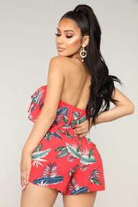 Panama Tropical Romper - Red