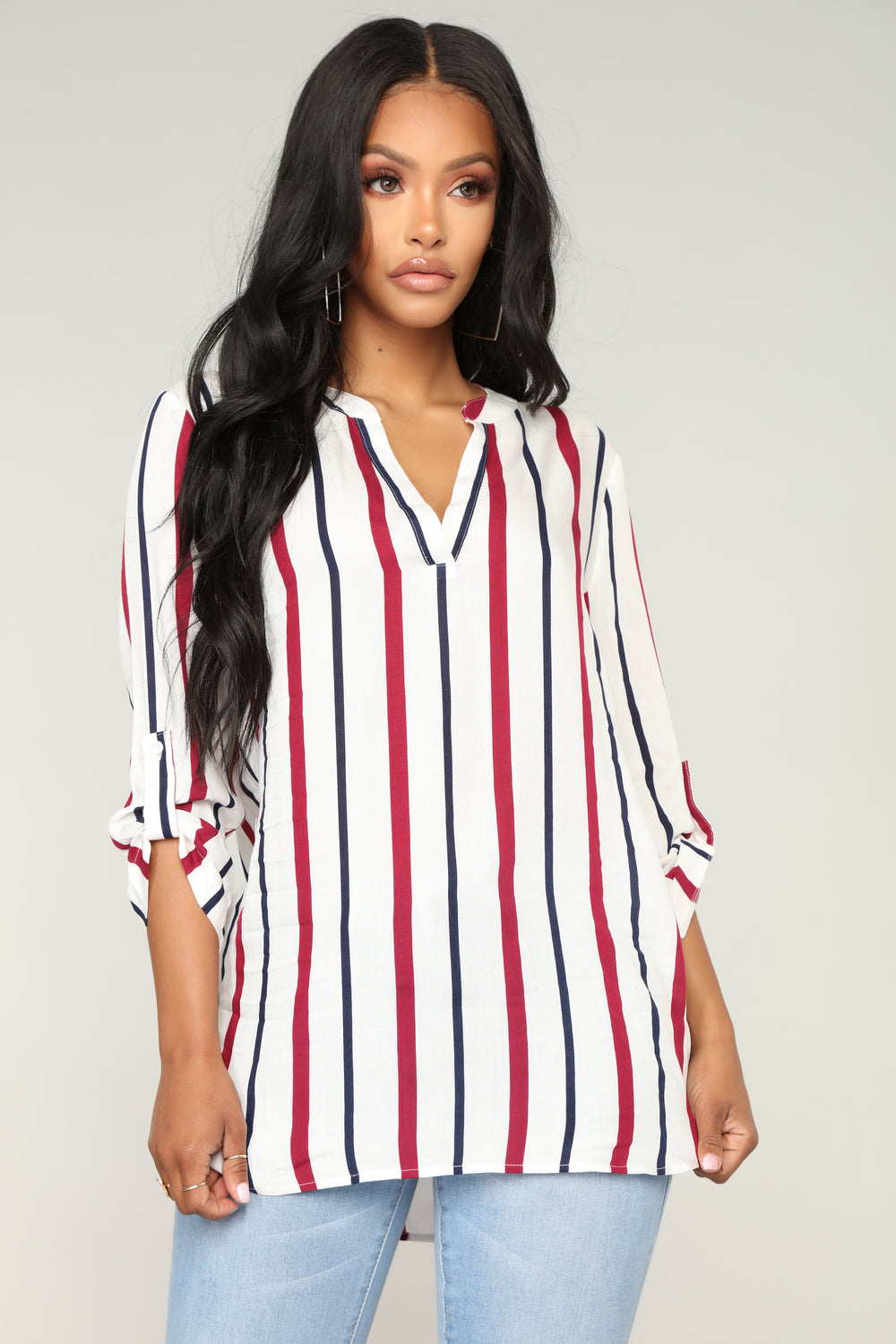 Good To Go Striped Top - Wine Multi