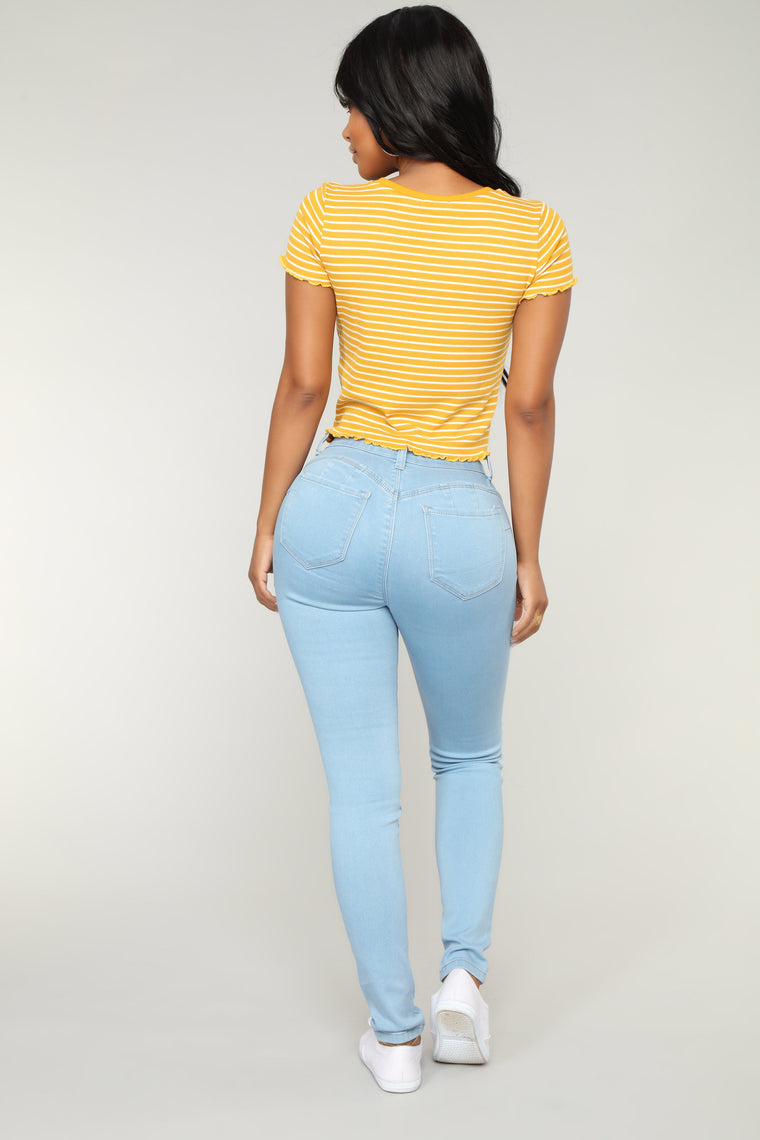 Who Needs You Crop Top - Yellow/combo