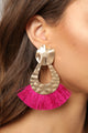 Flared Out Tassel Earrings - Fuchsia