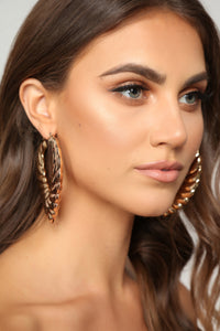 Rain Drop Tear Drop Hoop Earrings - Gold