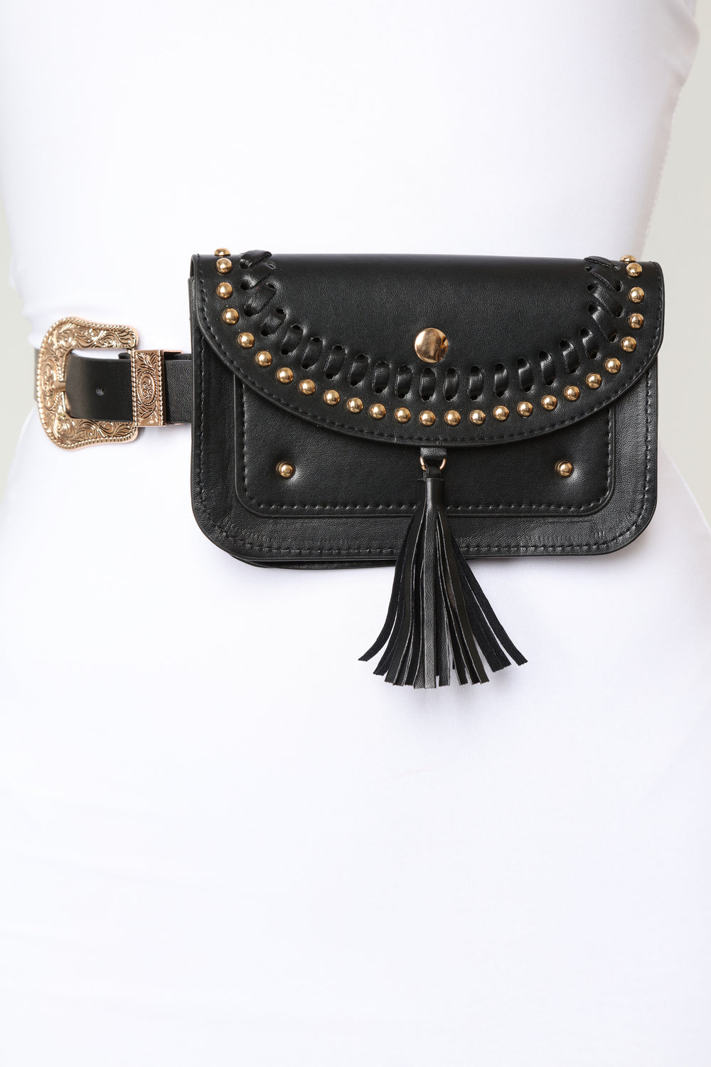 Nothing To Tassel Belt Bag - Black/Gold