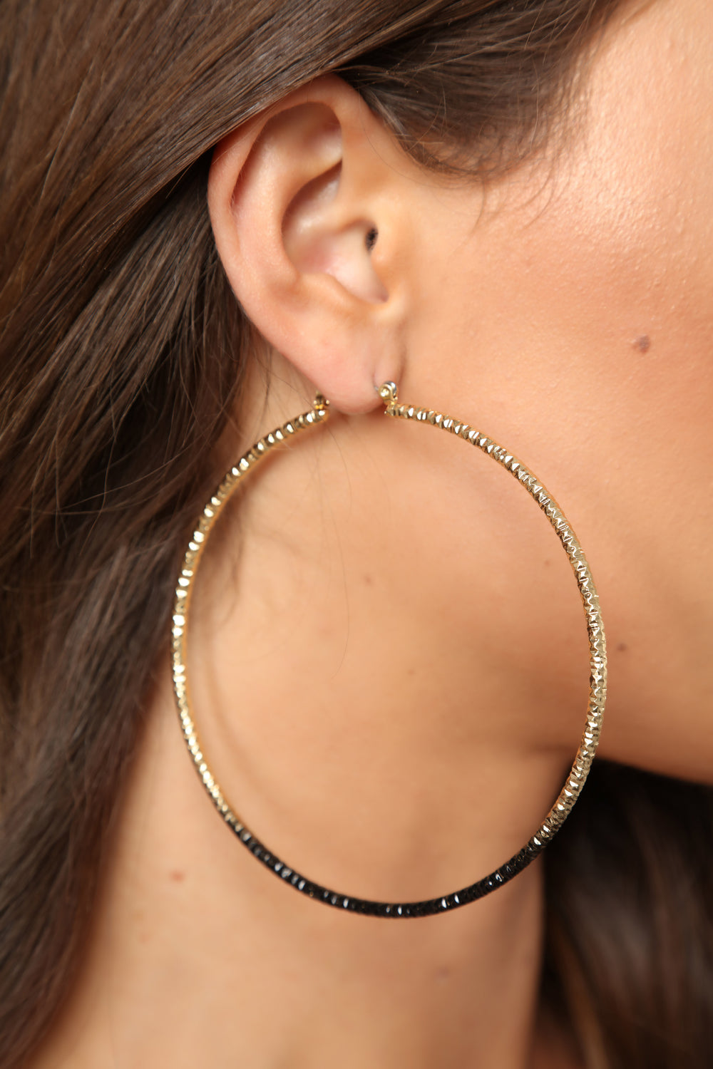 Dipped Down Low Hoops - Black