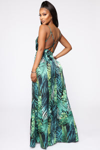 Vacation Nights Tropical Maxi Dress - Green