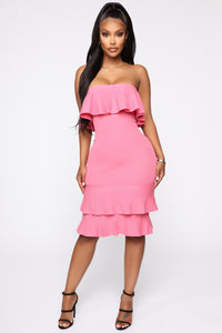 Bend It And Snap It Tube Midi Dress - Pink Angle 2