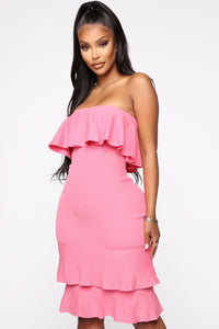 Bend It And Snap It Tube Midi Dress - Pink Angle 1