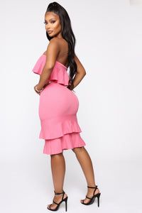 Bend It And Snap It Tube Midi Dress - Pink Angle 3