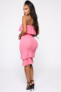 Bend It And Snap It Tube Midi Dress - Pink Angle 4