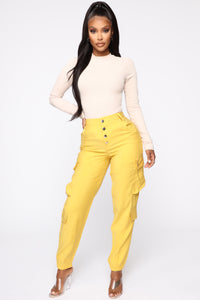Called To Slay High Rise Joggers - Mustard Angle 1