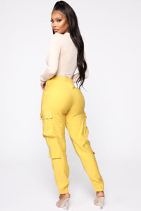 Called To Slay High Rise Joggers - Mustard Angle 5