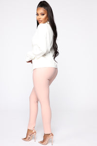 Benjamin Button High Rise Skinny Pants - Blush Angle 3
