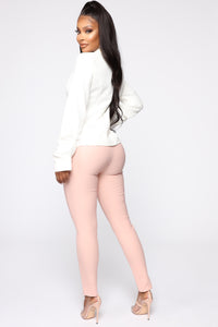 Benjamin Button High Rise Skinny Pants - Blush Angle 5