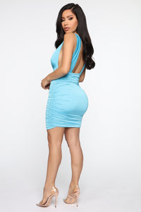 Looking Like A Snack Ruched Dress - Blue