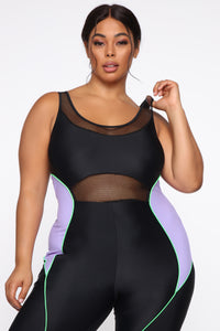 Meshy Details Jumpsuit - Black/Purple