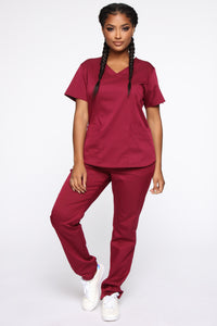 Wellness Scrub Set - Burgundy Angle 1
