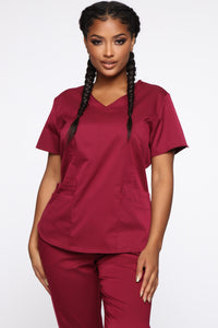 Wellness Scrub Set - Burgundy Angle 2