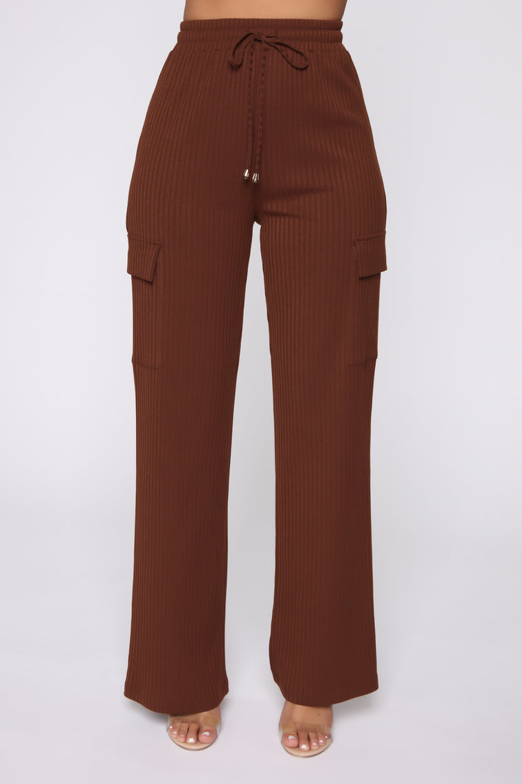 Cut Out The Cold Ribbed Set - Brown