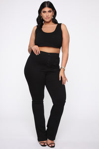 Katt Flare Button Jeans - Black Angle 7