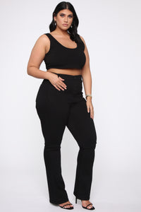Katt Flare Button Jeans - Black Angle 10