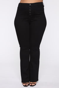 Katt Flare Button Jeans - Black Angle 8